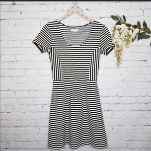 MADEWELL fit and flare stripe dress